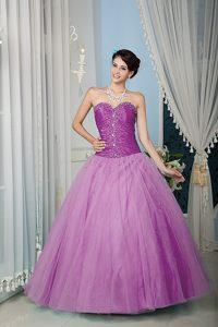 Luxurious Lavender A-line Tulle Zipper-up Quinces Dresses under 200