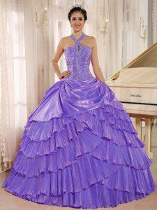 Halter Top Beaded Purple Memorable Quinceanera Gowns with Pleats