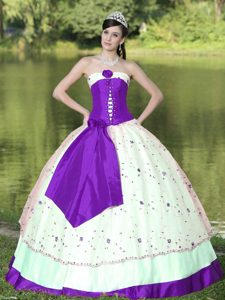 Purple and White Floor-length Satin Flowers Sweet Dress for Quinceanera