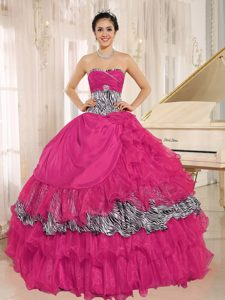 Magnificent Coral Red Zebra and Organza Sweet 15 Dresses with Ruffles