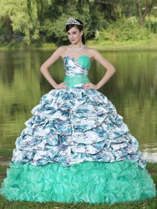 2013 Beautiful Organza Brush Train Lace-up Quince Dress with Beading