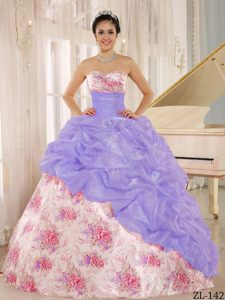 Classical Sweetheart Beaded Multi-color Quinces Dresses with Pick-ups