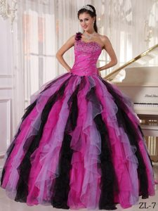 Multi-colored One Shoulder Organza Beading and Ruffles Quinceanera Dress