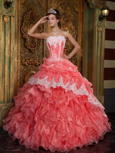 Strapless Ruffles Organza Floor-length Quinceanera Dresses in Waltermelon