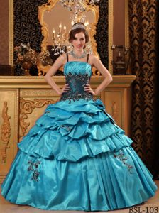 Black Spaghetti Straps Taffeta Appliques Quinceanera Dresses in Aqua Blue