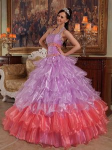 Lavender Beading Halter Organza Inexpensive Quinceanera Dress for 2014