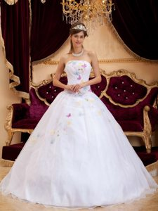 Winter White Princess Strapless Organza Appliques Dress for Quinceanera