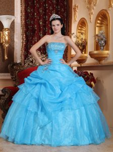 Aqua Blue Ball Gown Strapless Organza Beading Autumn Quinceanera Gowns