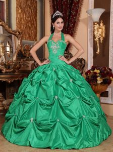 Green Ball Gown Halter Taffeta Appliques Quinceanera Dress with Pick-ups