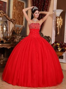 Red Ball Gown Strapless Tulle Beading Quinceanera Dresses On Promotion