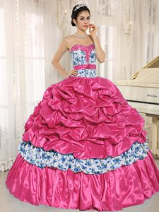 Beaded Taffeta Printed Coral Red Quinceanera Gown Dress with Pick-ups