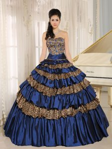 Leopard Ruffled Appliqued Navy Blue Quinceanera Dress with Beading