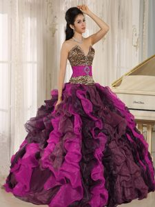 Wholesale Multi-colored 2013 Leopard Quinceanera Dress with Ruffles