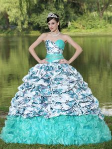 Colorful Printed Organza Beaded Ruffled 2013 Quince Dress with Pick-ups
