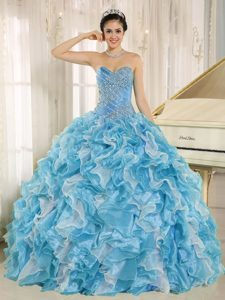 Newest Teal Beaded Custom Made 2013 Quinceanera Gown with Ruffles