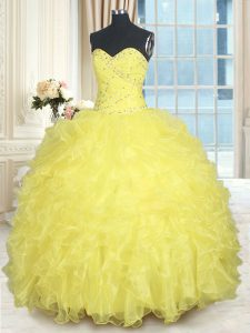 Yellow Sleeveless Floor Length Beading and Ruffles Lace Up Quince Ball Gowns