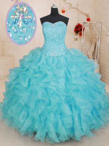 Low Price Aqua Blue Ball Gowns Sweetheart Sleeveless Organza Floor Length Lace Up Beading and Ruffles 15 Quinceanera Dress