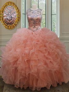 On Sale Scoop See Through Sleeveless Floor Length Beading and Ruffles Lace Up 15th Birthday Dress with Peach