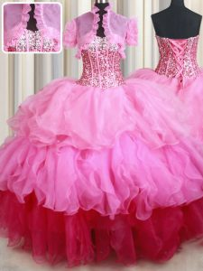 Rose Pink Organza Lace Up 15th Birthday Dress Sleeveless Floor Length Ruffles and Sequins