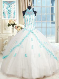 Suitable Halter Top White Ball Gowns Beading and Appliques Quinceanera Dresses Lace Up Tulle Sleeveless Floor Length