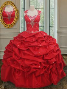 Straps Cap Sleeves Floor Length Lace Up Quinceanera Gown Red for Military Ball and Sweet 16 and Quinceanera with Beading and Pick Ups