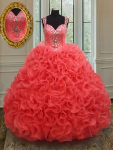 Eye-catching Coral Red Quinceanera Gowns Military Ball and Sweet 16 and Quinceanera with Beading Straps Sleeveless Zipper
