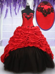 Luxury Pick Ups Brush Train Ball Gowns 15 Quinceanera Dress Red And Black Sweetheart Organza and Taffeta Sleeveless With Train Lace Up