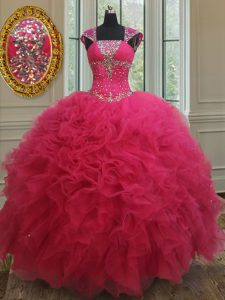 Ball Gowns 15th Birthday Dress Hot Pink Square Tulle Cap Sleeves Floor Length Lace Up