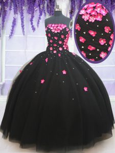 Fabulous Black Tulle Lace Up Ball Gown Prom Dress Sleeveless Floor Length Beading and Appliques
