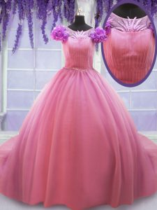 Perfect Scoop Cap Sleeves Tulle Court Train Lace Up Sweet 16 Dresses in Rose Pink with Beading and Hand Made Flower