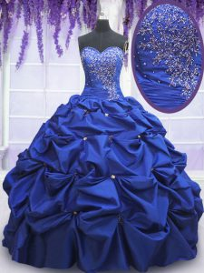 Sleeveless Floor Length Beading and Pick Ups Lace Up Sweet 16 Quinceanera Dress with Royal Blue