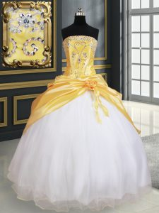 Modest Beading and Pick Ups and Hand Made Flower Ball Gown Prom Dress Yellow And White Lace Up Sleeveless Floor Length