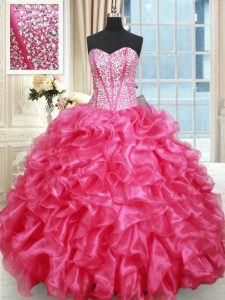 Hot Pink Sleeveless Floor Length Beading and Ruffled Layers Lace Up Sweet 16 Quinceanera Dress