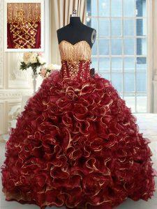 Beautiful Burgundy Sleeveless Brush Train Beading and Ruffles Quinceanera Gowns