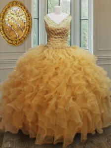 Shining Gold Sweet 16 Quinceanera Dress Military Ball and Sweet 16 and Quinceanera with Beading and Ruffles V-neck Sleeveless Zipper