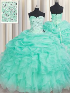 Fashion Apple Green Sweetheart Neckline Beading and Ruffles and Pick Ups Quinceanera Dresses Sleeveless Lace Up