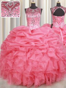 Pick Ups Scoop Sleeveless Lace Up Quinceanera Dresses Watermelon Red Organza