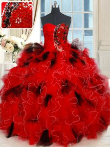 Beading and Ruffles and Sequins Quinceanera Dresses Black and Red Lace Up Sleeveless Floor Length