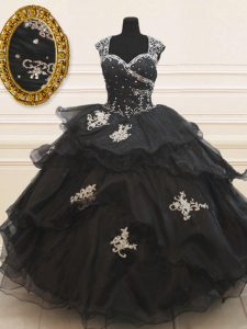 Organza Cap Sleeves Floor Length Sweet 16 Quinceanera Dress and Beading and Appliques and Ruffles