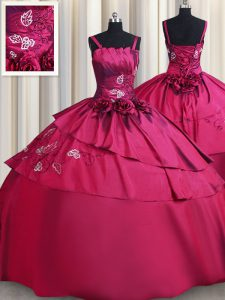 Delicate Straps Floor Length Lace Up Quinceanera Gown Burgundy for Military Ball and Sweet 16 and Quinceanera with Embroidery and Hand Made Flower