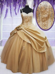 Glorious Champagne Taffeta Lace Up Quinceanera Gown Sleeveless Floor Length Beading and Appliques and Hand Made Flower