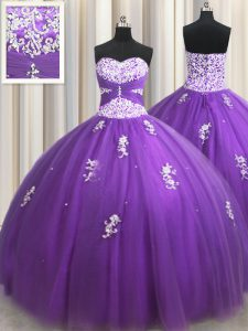 Exceptional Eggplant Purple Ball Gowns Beading and Appliques 15th Birthday Dress Zipper Tulle Sleeveless Floor Length