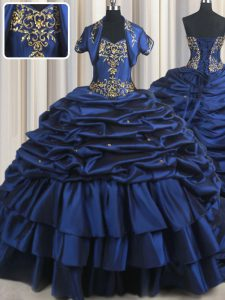 Navy Blue Ball Gowns Taffeta Sweetheart Sleeveless Embroidery and Pick Ups With Train Lace Up Sweet 16 Dresses Court Train
