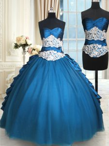 Taffeta and Tulle Sleeveless Floor Length Vestidos de Quinceanera and Beading and Lace
