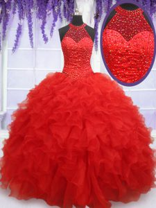 Red Halter Top Lace Up Beading and Ruffles Sweet 16 Dresses Sleeveless