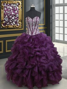 Dark Purple Ball Gowns Beading and Ruffles Sweet 16 Quinceanera Dress Lace Up Organza Sleeveless Floor Length