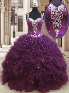 Fashionable Straps Floor Length Ball Gowns Sleeveless Dark Purple Quinceanera Dresses Zipper