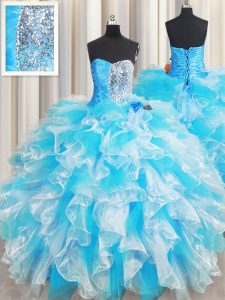 Sweetheart Sleeveless Organza 15th Birthday Dress Ruffles and Sequins Lace Up