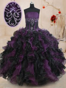 Customized Black And Purple Strapless Lace Up Beading and Ruffles Sweet 16 Dresses Sleeveless