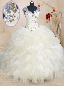 Top Selling Champagne Organza Zipper Straps Cap Sleeves Floor Length Quinceanera Gowns Beading and Ruffles